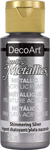 DecoArt Dazzling Metallics 2-Ounce Shimmering Silver Acrylic Paint