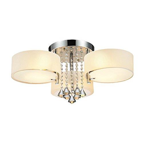 DINGGU Flush Mounted 3 Light Chrome Finish Modern Chandelier Ceiling Light Fixtures for...