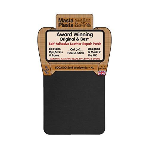 MastaPlasta Self-Adhesive Patch for Leather and Vinyl Repair, XL Plain, Black - 8 x 11 Inch -...
