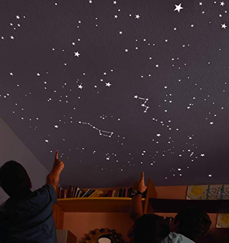 Kit of 270 fluorescent STARS + STENCIL of 2 m². EXACT REPRODUCTION OF THE SKY +2 MAPs with...