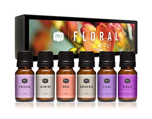 P&J Trading Floral Set of 6 Premium Grade Fragrance Oils - Violet, Jasmine, Rose, Lilac, Freesia,...