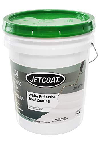 Jetcoat Cool King Reflective Acrylic Roof Coating, Waterproof Elastomeric Sealant, 5 Gallon, 5 Year...