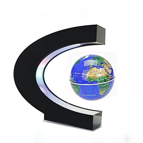 Estefanlo Floating Globe with LED Lights C Shape Magnetic Levitation Floating Globe World Map for...