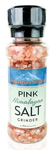 Natural Pink Himalayan Cooking Salt in Refillable Grinder - 8 oz Healthy Unrefined Coarse Salt...