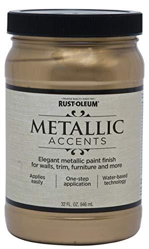Rust-Oleum 253537 Metallic Accents Paint, Quart, Soft Gold