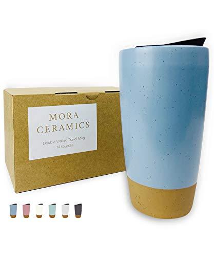 Mora Double Wall Ceramic Coffee Travel Mug with Lid, 14 oz, Portable, Microwave, Dishwasher Safe,...