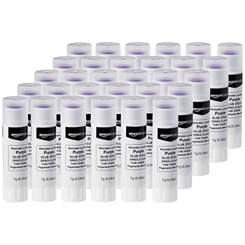 AmazonBasics Purple Washable School Glue Sticks, Dries Clear, 0.24-oz Stick, 30-Pack
