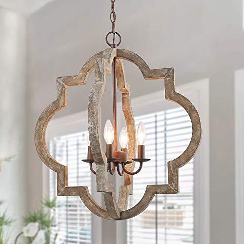 LOG BARN Large Farmhouse Chandelier Handmade Wood 4 Lights Fixtures Hanging for Dining, Bedrooms,...