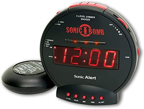 Sonic Bomb Dual Extra Loud Alarm Clock with Bed Shaker, Black | Sonic Alert Vibrating Alarm Clock...