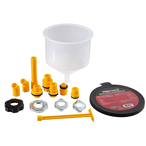 OEMTOOLS 87009 No-Spill Coolant Funnel Kit, Near Universal Fitment, Translucent, 15 Piece Set,...