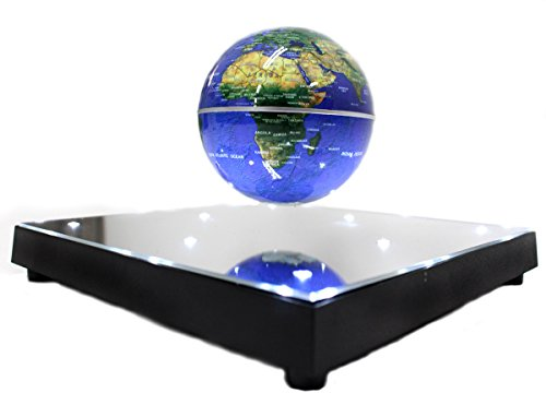 PowerTRC Rotating Magnetic Levitation Suspended in Air Floating 3.5 inch Globe, ABS Base with Mirror...