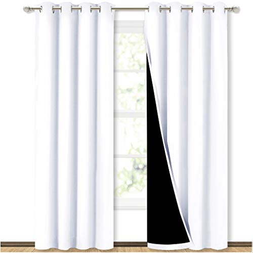 NICETOWN Full Shading Curtains for Windows, Super Heavy-Duty Black Lined Blackout Curtains for...