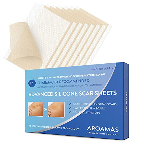 Aroamas Professional Silicone Scar Sheets, Soften and Flattens Scars Resulting from Surgery, Injury,...