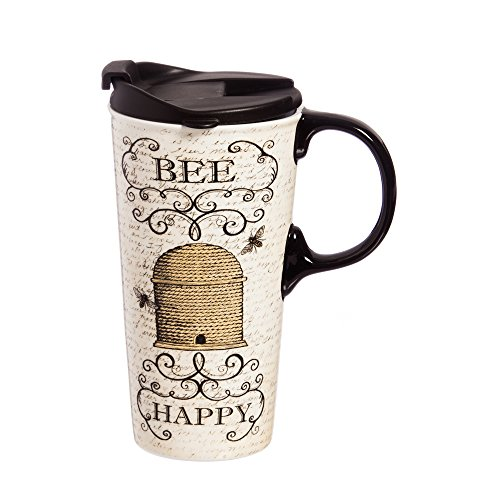 Cypress Home Inspirational Travel Mug, Bee Happy 17 OZ Ceramic Cup - 4 x 5 x 7 Inches Insulated...