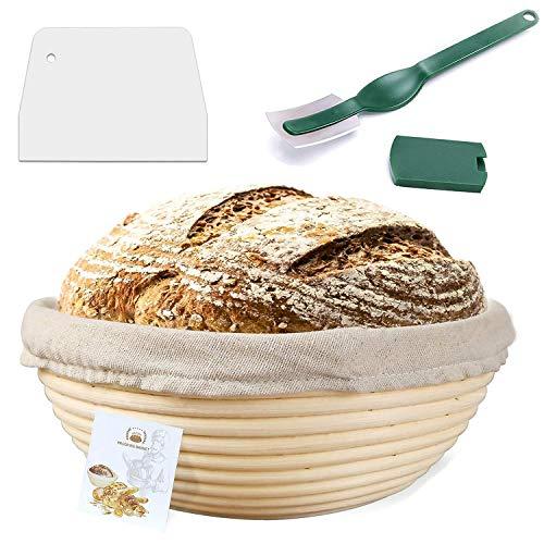 9 Inch Proofing Basket,WERTIOO Bread Proofing Basket + Bread Lame +Dough Scraper+ Linen Liner Cloth...
