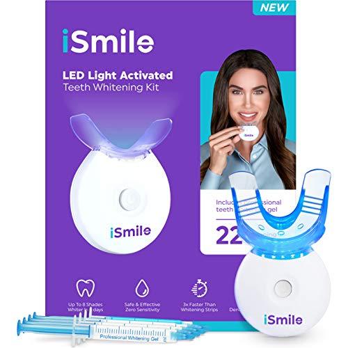 iSmile Teeth Whitening Kit - LED Light, 35% Carbamide Peroxide, (3) 3ml Gel Syringes, (1)...