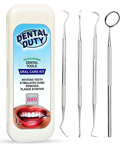 Professional Dental Hygiene Kit - Calculus & Plaque Remover Set - Stainless Steel Tools-Tarter...