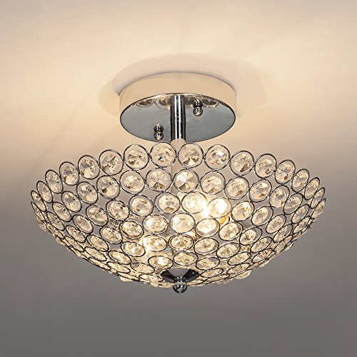 POPILION 2 Light Crystal Ceiling Light, Bowl Shape Semi Flush Mount Silver Finish Chandelier, Light...