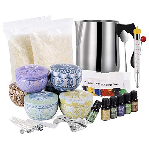 Candle Making Kit, Arts and Craft Supplies for Adults, Kids, Soy Wax, Cotton Wicks, Tins & More
