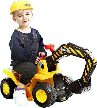 Play22 Toy Tractors for Kids Ride On Excavator - Music Sounds Digger Scooter Tractor Toys Bulldozer...