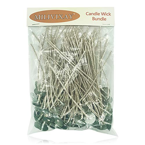 100pcs/lot Candle Wicks for Candle Making - Coated with Natural Soy Wax, Low Smoke - Cotton Threads...