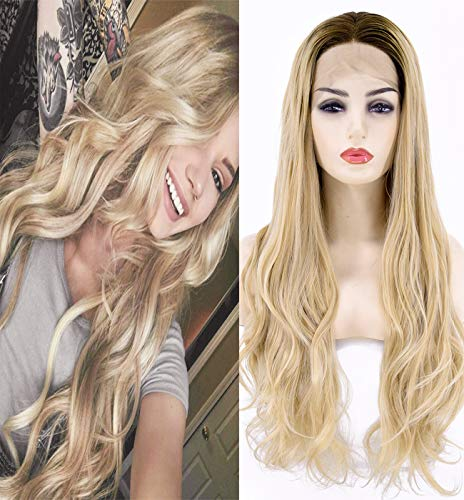 EALGA Dark Brown Rooted Light Blonde Lace Front Wig for Women Best Synthetic Hair Wavy Honey Blonde...