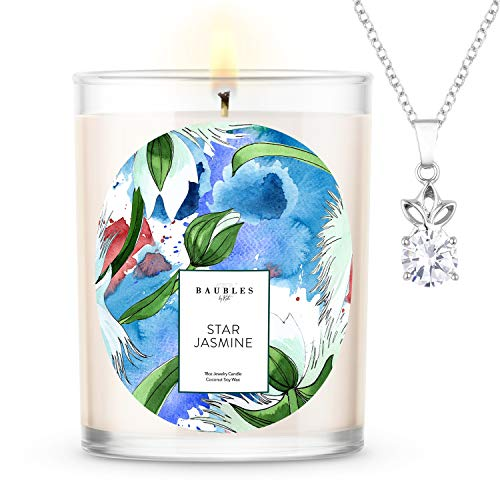 Kate Bissett Baubles Star Jasmine Scented Premium Candle and Jewelry with Surprise Pendant Inside |...