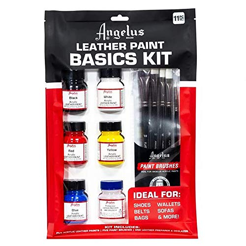 Angelus Leather Paint Basics Kit, Contains 1 Ounce Bottles of Black, White, Red, Blue, Yellow and...