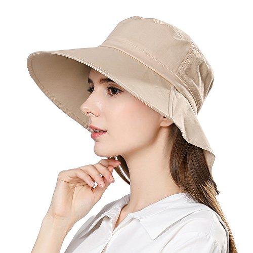 Women Summer Sun Shade Japanese Hat Uv Protection Safari Cooling Neck Flap Khaki 56-58cm