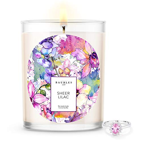 Kate Bissett Baubles Sheer Lilac Scented Premium Candle and Jewelry with Surprise Ring Inside | 18...