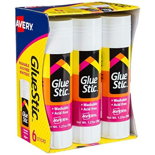 Avery Glue Stick White, Washable, Nontoxic, 1.27 oz. Permanent Glue Stic, 6pk (98073),Clear