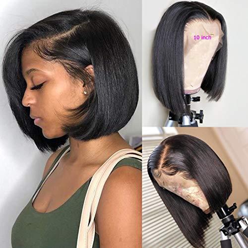 BLY Short Straight Bob Wigs Brazilian Virgin Human Hair Lace Front Wigs Human Hair (12inch) 13x4...