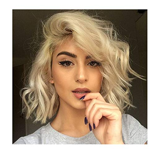 Brazilian Remy Short Human Hair Full Lace 613 Wavy Wigs Blonde Pre Plucked Unprocessed 10 Inch Bob...