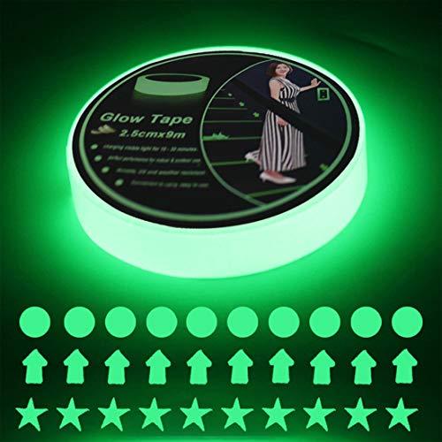 EONBON Glow in The Dark Luminous Tape Sticker 30 Feet x 1 Inch, Removable Waterproof...
