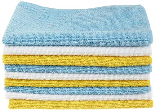 Amazon Basics Blue, White, and Yellow Microfiber Cleaning Cloth - Pack of 24