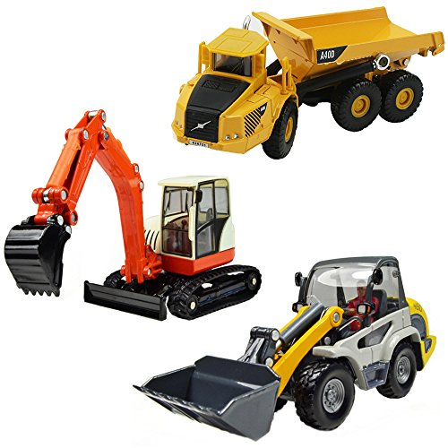 iPlay, iLearn Heavy Duty Construction Site Play Set, Collectible Model Vehicles, Metal Tractor Toy,...