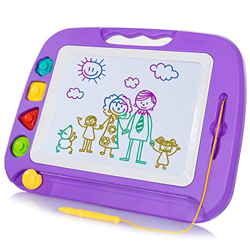 SGILE Magnetic Drawing Board Toy for Kids, Large Doodle Board Writing Painting Sketch Pad, Random...