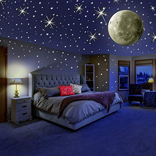 MAFOX Glow in The Dark Wall or Ceiling Stars with Moon Stickers – Luminous Decal Stickers for...