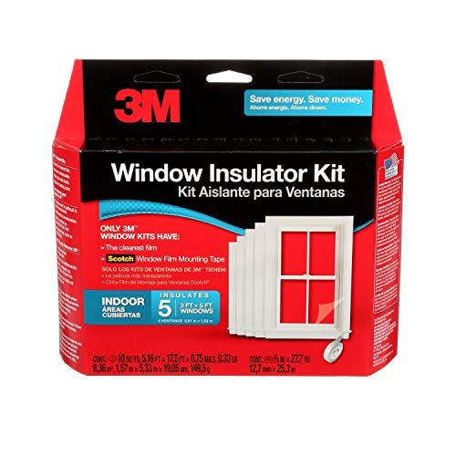 3M Indoor Window Insulator Kit, Window Insulation Film for Heat and Cold, 5.16 ft. x 17.5 ft.,...