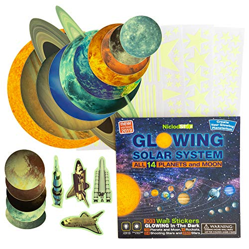 Glow in the Dark Stars and Planets for Ceiling – 303 Bright Solar System Wall Stickers, Shining...