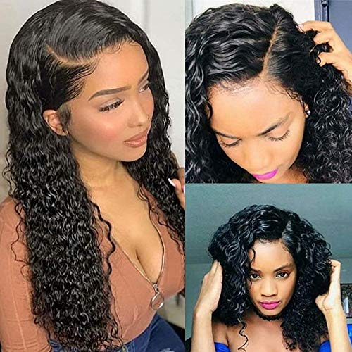 Curly Human Hair Wigs For Black Women Full Lace Human Hair Wigs Deep Wave Lace Frontal Wig Black...