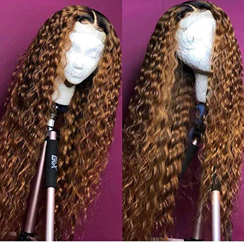 Andria Curly Hair Lace Front Wigs Dark Root Ombre Red Brown Color Two Tone Synthetic Long Wigs Heat...