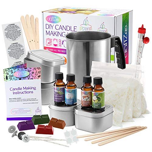 Complete DIY Candle Making Kit Supplies by CraftZee – Create Large Scented Soy Candles – Full...