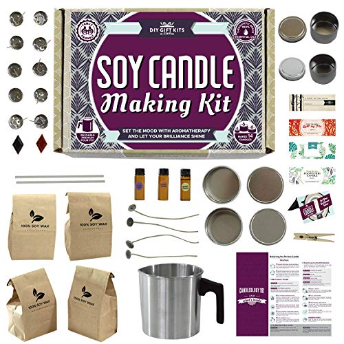 Soy Candle Making Kit for Adults and Teens (49-Piece Set) Easy to Make Essential Oil Scented Wax...