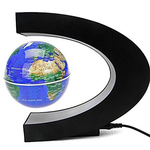 Senders Floating Globe with LED Lights C Shape Magnetic Levitation Floating Globe World Map for Desk...