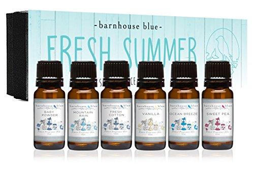 Fresh Summer - Premium Grade Fragrance Oils - Gift Set 6/10ml Bottles - Baby Powder, Fresh Cotton,...