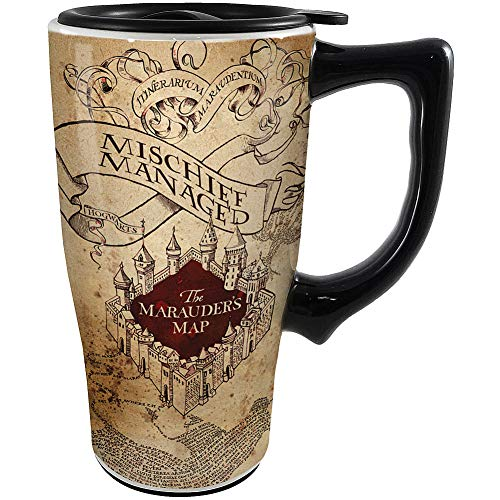 Spoontiques Harry Potter Solemnly Swear Ceramic Travel Mug, 18 ounces, Off White