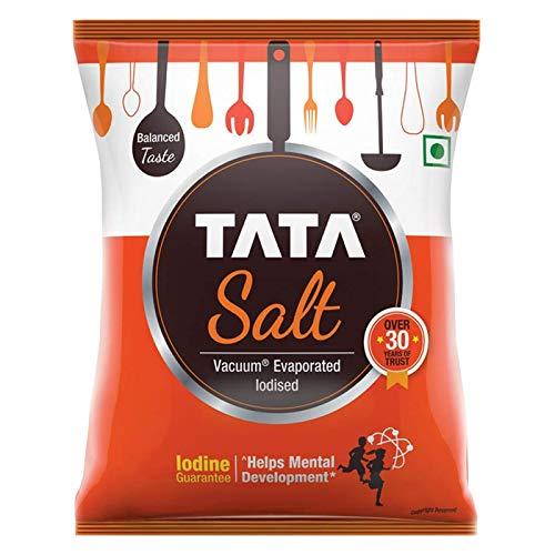 Tata Salt, 1 kg - (1000 grams pack) - 35.27 oz - India - Vacuum evaporated iodised salt - Vegetarian