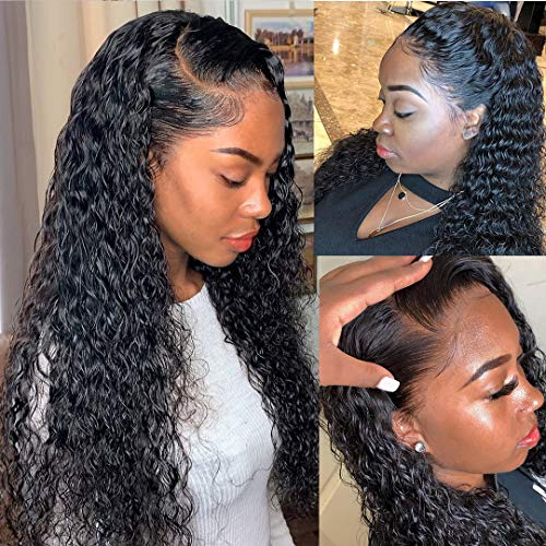Glueless Water Wave Lace Frontal Wigs Human Hair Brazilian Virgin Hair Deep Water Wave Front Lace...