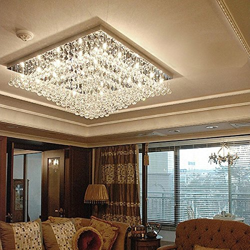 7PM Crystal Ceiling Light Modern Square Chandelier Raindrop Chrome Flush Mount Lighting Fixture for...